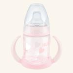 NUK First Choice Обучающая бутылочка 150 мл с насадкой для питья из силикона BABY ROSE & BLUE