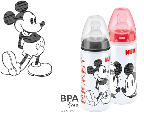 NUK First Choice Plus Mickey Mouse Baby Bottle 300ml with Teat