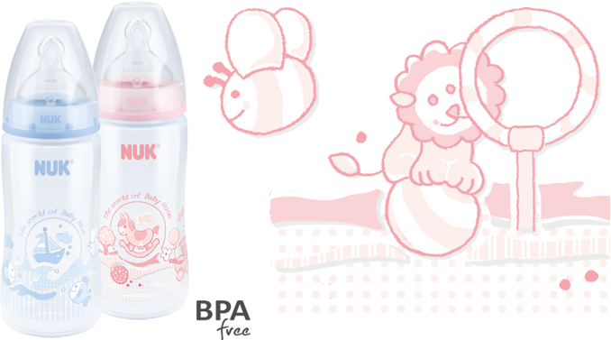 NUK First Choice Plus Baby Rose & Blue Baby Bottle 300ml with Teat